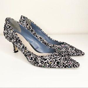 Zara Tweed Heels Kitten Black White Pointed Toe